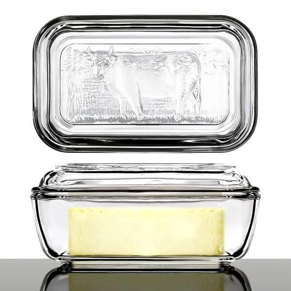 Butterdose mit Deckel und Kuh-Motiv